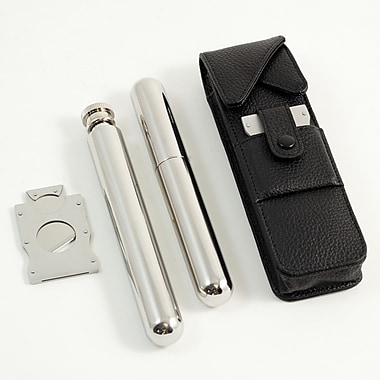 Bey-Berk Stainless Steel Flask, Cigar Holder, and Cutter Se with Black Leather Case (C201B)