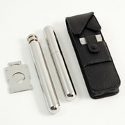 Bey-Berk Stainless Flask, Cigar Tube & Cutter Set, Black Leather