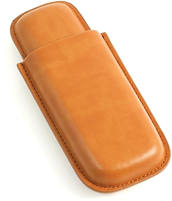 Bey-Berk C232 Leather Telescoping 2 Cigar Case, Tan