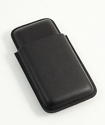 Bey-Berk Leather Telescoping 3 Cigar Case, Black