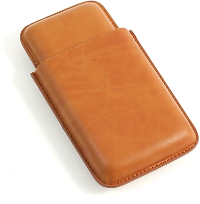 Bey-Berk Leather Telescoping 3 Cigar Case, Tan
