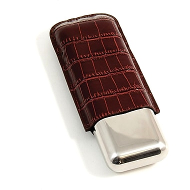 Bey-Berk 52 ga Croco Debossed Leather and Stainless Steel Double Cigar Holder, Brown