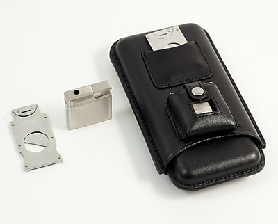 Bey-Berk Leather Three Cigar Holder With Stainless Steel Cutter and Lighter, Black