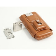 Bey-Berk Leather Three Cigar Holder With Stainless Steel Cutter and Lighter, Brown