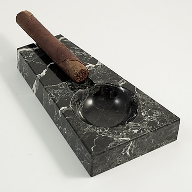 Bey-Berk Solid Marble Single Cigar Ashtray, Black