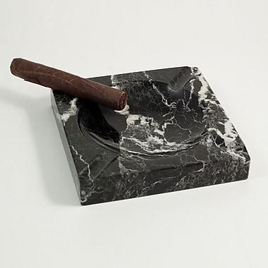 Bey-Berk Solid Marble Cigar Ashtray, Square, Black (C303)