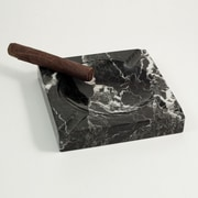 Bey-Berk Solid Marble Cigar Ashtray, Square, Black (C303)