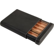 Bey-Berk Leather 5-Cigar Case with Cedar Lining, Black(C405)