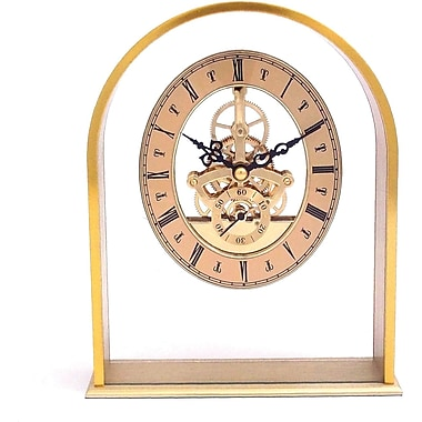 Bey-Berk Brushed Gold Plated Georgetown Quartz Clock With Skelton Movement