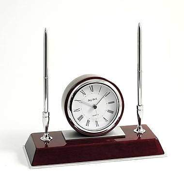 Bey-Berk Dresden Rosewood Base Clock With 2 Pens