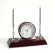 Bey-Berk Dresden Rosewood  Base Clock With 2 Pens