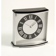 Bey-Berk Palm Springs  Stainless Steel and Black Lacquered Wood Clock
