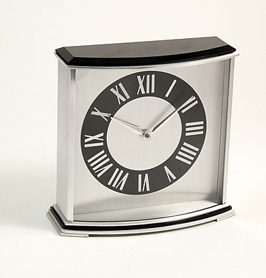 Bey-Berk CM699 Palm Springs Stainless Steel and Black Lacquered Wood Clock