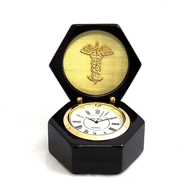 Bey-Berk Lacquered Black Wood Stanford Clock, Medical