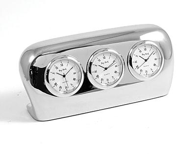 Bey-Berk CM777 Analog Salzburg Triple Time Table Clock, Silver