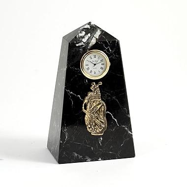 Bey-Berk CM815 Black Zebra Marble Quartz Clocks