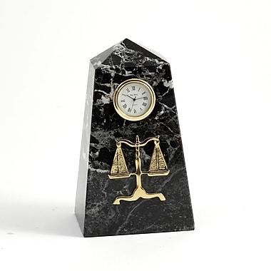 Bey-Berk Black Zebra Marble Quartz Clock, Legal