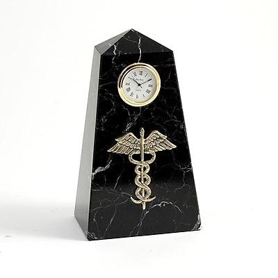 Bey-Berk CM815 Black Zebra Marble Quartz Clock, Medical