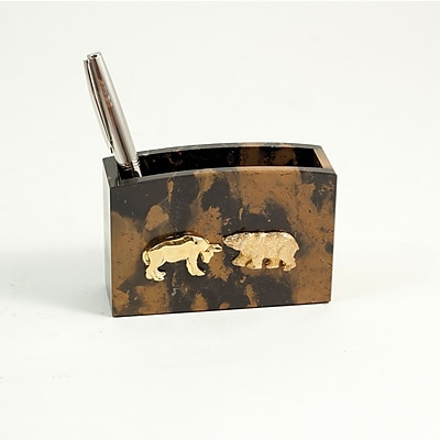 Bey-Berk Pencil Box With Gold Plated Accents, Stock Market