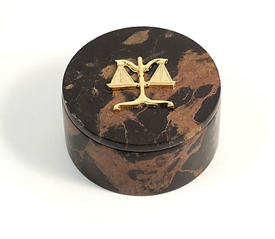Bey-Berk Round Box With Gold Plated Accents, Legal