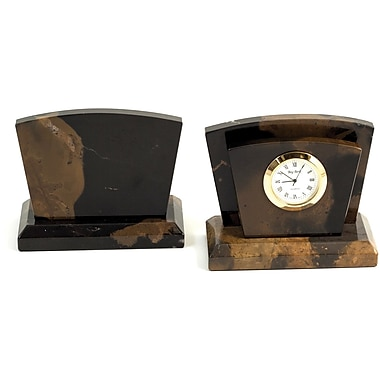 Bey-Berk Clock/Letter Rack with Gold Plated Accents (D017)