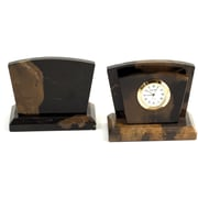 Bey-Berk Clock/Letter Rack  With Gold Plated Accents, Military Green
