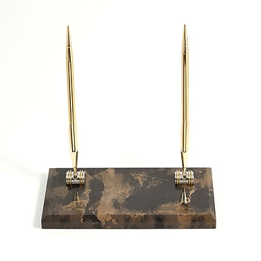 Bey-Berk Gold Plated Double Pen Stand With 2 Pens