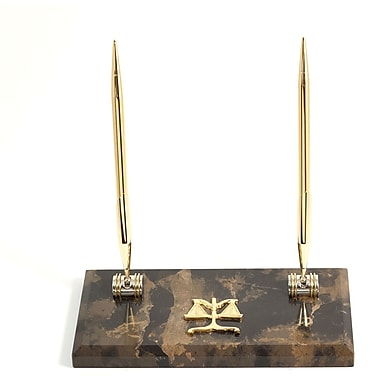 Bey-Berk Gold Plated Pen Stand with 2 Pens