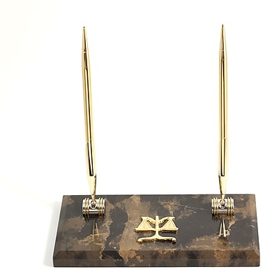 Bey-Berk Gold Plated Double Pen Stand With 2 Pens, Legal