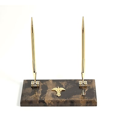 Bey-Berk Gold Plated Pen Stand with 2 Pens, Medical (D018M)