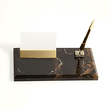 Bey-Berk Gold Plated Business Card Holder With Pen, Black and Tan
