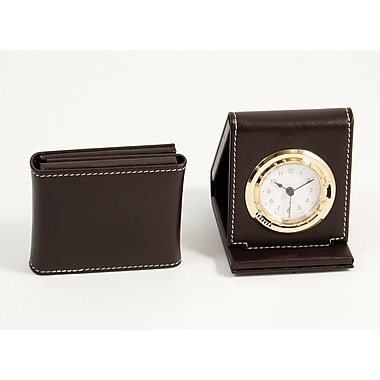 Bey-Berk Leather Foldable Quartz Alarm Clock With Gold Plated Accents, Coco Brown