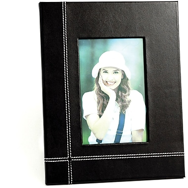 Bey-Berk Black Leather Picture Frame With Easel Back, 4