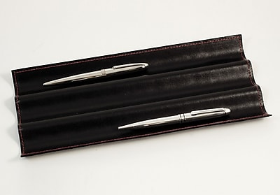 Bey-Berk D1352 Pen Tray With Red Stitching, Black Leather