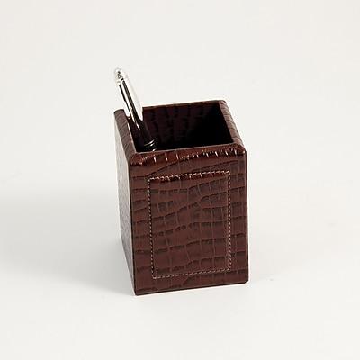 Bey-Berk Debossed Leather Pencil Box, Brown