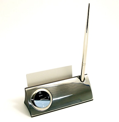 Bey-Berk Silver Plated Clock With Business Card Holder, Pen