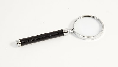 Bey-Berk Croco Debossed Leather Magnifier Glass With Gold Plated Accents, Black