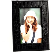 "Bey-Berk Black Croco Debossed Leather Picture Frame With Easel Back, 4"" x 6"""