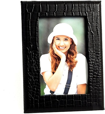 Bey-Berk D1519 Black Croco Leather Picture Frame With Easel Back, 4