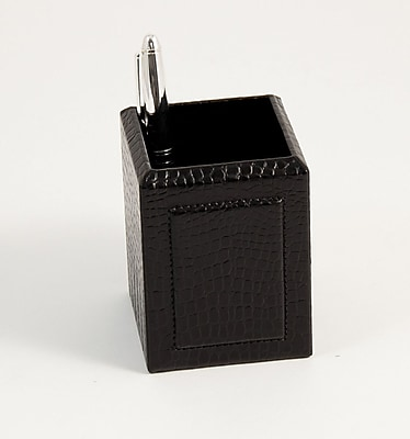 Bey-Berk Debossed Leather Pencil Box, Black