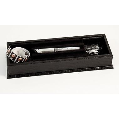 Bey-Berk Croco Debossed Leather Stationery Box, Black
