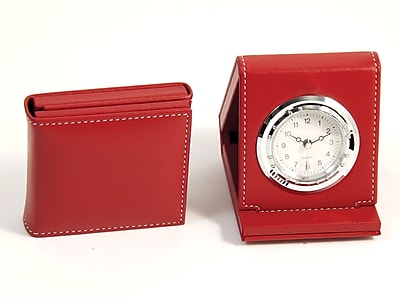 Bey-Berk Leather Foldable Quartz Alarm Clock With Chrome Accents, Red