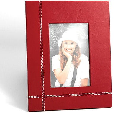 Bey-Berk D1619 Red Leather Picture Frame With Easel Back, 4
