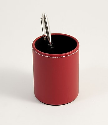Bey-Berk D1621 Leather Pencil Cup Holder, Red