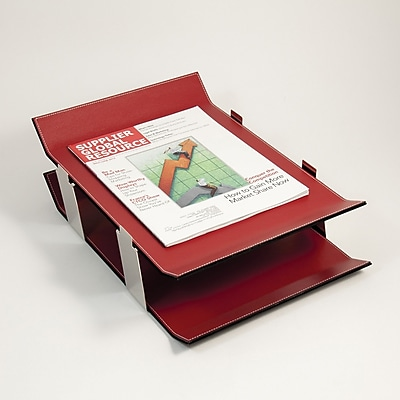 Bey-Berk Double Letter Tray, Red Leather 15 1/2