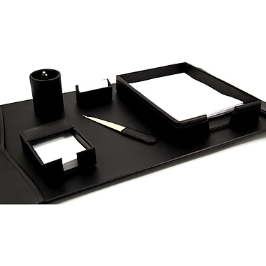 Bey-Berk 6 Piece Leather Desk Set With Gold Plated Accent, Black