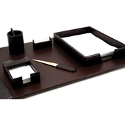 Bey-Berk 6 Piece  Leather Desk Set With Gold Plated Accent, Brown