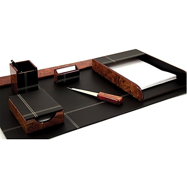 Bey-Berk 6-Piece Leather Desk Set with Gold Plated Accent, Burl/Black (D2006)