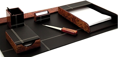 Bey-Berk D2006 6 Piece Leather Desk Set With Gold Plated Accent, Burl Wood and Black