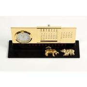 Bey-Berk Gold Plated  Black Base Perpetual Calendar and Clock, Stock Market